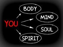 Sie, Körper, Verstand, Seele, Geist - eine einfache Sinneskarte Stockfoto