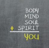 Sie, Körper, Verstand, Seele, Geist - eine einfache Sinneskarte Stockbild