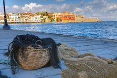 Sieć rybacka w porcie Chania Zdjęcie Stock