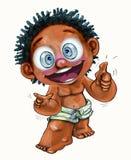 Sie sind rechter Finger fungierendes Afrikanisch-Amerika oder hawaiischer Zeichentrickfilm-Figur-Entwurf stock abbildung