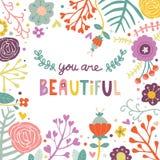Sie sind schöne Gruß-Karten-nette Blumen-Gekritzel-Vektor-Illustration Stockfoto