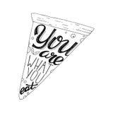 Sie sind, was Sie Handzeichnungs-Beschriftungsbild mit Pizzaillustration essen Stockfotografie