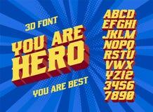 Sie sind Weinlesebuchstaben des Helden 3D stockbild