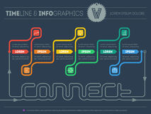 Sieć szablon Infographic linia czasu wokoło łączy z sześć częściami Zdjęcia Stock