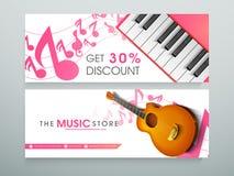 Sieć sztandar dla muzycznego sklepu lub chodnikowiec Obraz Royalty Free