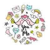 Sie und ich Beschriftung mit girly Gekritzeln für Valentinsgrußtageskartendesign, Mädchen ` s T-Shirt Druck, Poster Lizenzfreies Stockfoto