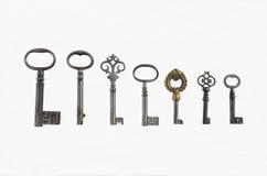 Sieben antike Rohr-Schlüssel Stockfoto