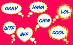 Sieben Blasen mit Text Stockbilder