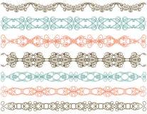Sieben dekorative Zeilen,    Stockbild
