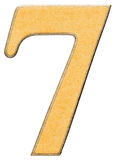 7, sieben, die Ziffer des Holzes kombiniert mit gelbem Einsatz, lokalisierten O Lizenzfreie Stockfotografie