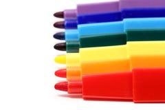Sieben Farbenfedern Stockfotografie