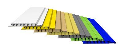 Sieben Farbplastikplatten auf dem Weiß Lizenzfreies Stockbild