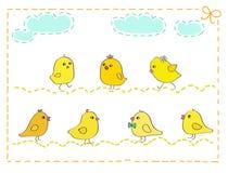 Sieben gelbe Hühner mit Stichrahmen-Vektorillustration vektor abbildung