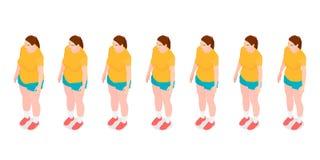 Sieben identische Mädchen zeigen den Prozess des Verlierens des Gewichts lizenzfreie abbildung