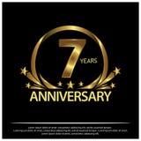 Sieben Jahre Jahrestag golden Jahrestagsschablonenentwurf für Netz, Spiel, kreatives Plakat, Broschüre, Broschüre, Flieger, Zeits stock abbildung