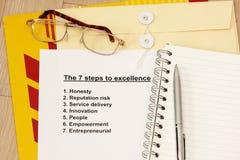 Sieben Jobstepps zur hervorragenden Leistung Stockfotos