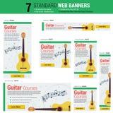 Sieben Netzfahnen - Gitarren-Kurse lizenzfreie abbildung