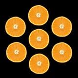Sieben orange Scheiben Lizenzfreie Stockfotos