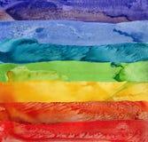 Sieben Regenbogenaquarell-Farbenanschläge Lizenzfreie Stockbilder