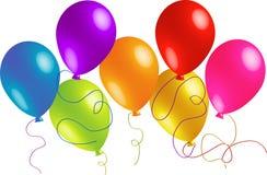 Sieben schöne Geburtstag-Ballone Stockbild