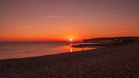 Sieben Schwestern, Sonnenuntergang und Meer lizenzfreies stockbild
