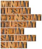 Tage der Woche in der hölzernen Art Lizenzfreies Stockfoto