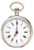 Sieben Uhr auf der Skala der Retro- Taschenuhr Lizenzfreie Stockfotos