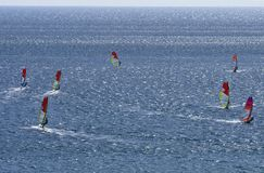 Sieben Windsurfers fahren auf die Oberfläche des schönen Mittelmeeres der Blendung Stockfotografie