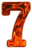 7, sieben, Ziffer vom Glas mit einem abstrakten Muster eines flami Stockfotos