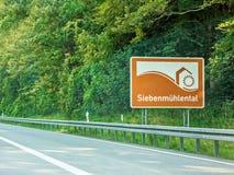 Siebenmuhlental,标志,高速公路,德国 免版税库存照片