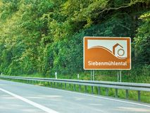 Siebenmuhlental, sign, Autobahn, Germany Royalty Free Stock Photos