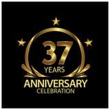 Siebenunddreißig Jahre Jahrestag golden Jahrestagsschablonenentwurf für Netz, Spiel, kreatives Plakat, Broschüre, Broschüre, Flie vektor abbildung