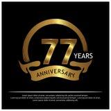 Siebenundsiebzig Jahre Jahrestag golden Jahrestagsschablonenentwurf für Netz, Spiel, kreatives Plakat, Broschüre, Broschüre, Flie stock abbildung