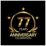 Siebenundsiebzig Jahre Jahrestag golden Jahrestagsschablonenentwurf für Netz, Spiel, kreatives Plakat, Broschüre, Broschüre, Flie lizenzfreie abbildung