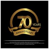 Siebzig Jahre Jahrestag golden Jahrestagsschablonenentwurf für Netz, Spiel, kreatives Plakat, Broschüre, Broschüre, Flieger, Zeit stock abbildung