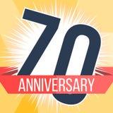 Siebzig Jahre Jahrestagsfahne 70. Jahrestagslogo Auch im corel abgehobenen Betrag Stockfotografie