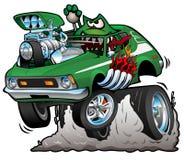 Siebziger-grüne heiße Rod Funny Car Cartoon Vector-Illustration lizenzfreie abbildung