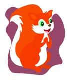 Sieci Śliczna mała wiewiórka siedzi na podłodze Kresk?wka charakteru zwierz?cy projekt P?aska Wektorowa ilustracja Odizolowywaj?c ilustracji