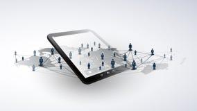 Sieci - Globalni Biznesowi związki - Ogólnospołeczny Medialny pojęcie projekt z mapy i pastylki pecetem ilustracji