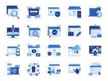 Sieci i marketingu ikony set Zawierać ikony gdy SEO, statystyki, zawartość i więcej, online obrazy stock