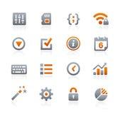 Sieci i wiszącej ozdoby ikony 4 -- Grafitowe serie Obrazy Royalty Free
