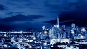 Sieci i związku technologii pojęcie San Fransisco Skyli Obraz Stock