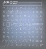 100 sieci ikony cienki kreskowy wektor Obrazy Royalty Free