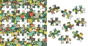 Sieci ikony: Dopasowanie kawałki, wizualna gra Rozwiązanie w chowanej warstwie! Zdjęcie Stock