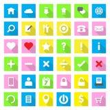 Sieci ikony mieszkania styl na kolorowym prostokąta tle z długim cieniem Zdjęcia Royalty Free