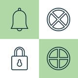 Sieci ikony ustawiać Kolekcja wyjście, pozytyw, Bell I Inni elementy, Także Zawiera symbole Tak jak wyjście, Bell, alarm Zdjęcia Royalty Free