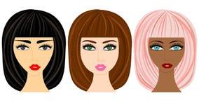 Sieci kobiety fryzury ustawiać ilustracja wektor
