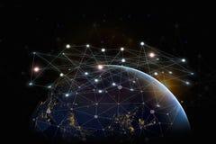 Sieci linii kropka na Internetowej sieci pojęciu z P i zmroku Zdjęcia Royalty Free