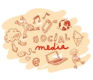 Sieci multimedialne ikony ustawiać Doodle ilustracja Obraz Royalty Free