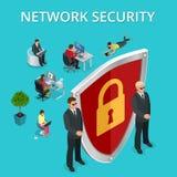 Sieci ochrony bezpieczeństwo komputerowe, ogłoszenie towarzyskie dostęp przez palca, użytkownik autoryzacja, nazwa użytkownika, o royalty ilustracja